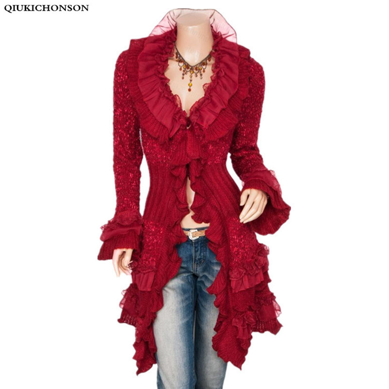Ruffles sweater cardigan women knitted long cardigan autumn lace spliced vintage ladies cute ruffled collar butterfly Sleeve