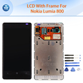 "Original LCD For Nokia Lumia 800 LCD display touch screen digitizer frame assembly 3.7"" black pantalla phone repair parts+tools"