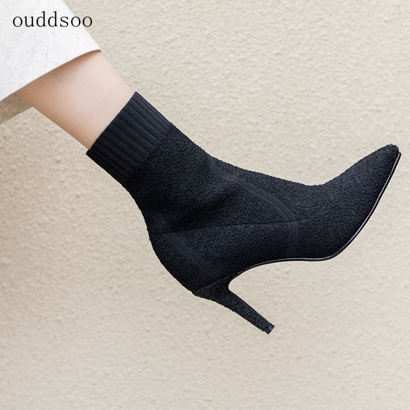 2018 Stretch Women Autumn Sexy Booties Sock Boots Heel Knit Boots Slip On Ankle Thin Heels Pointed Toe Pump Black Apricot 8cm mr northjoe front