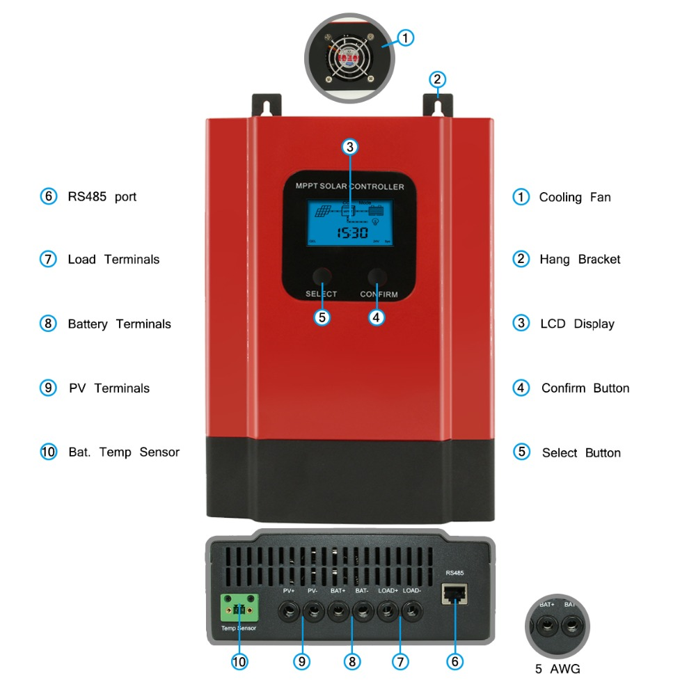 Image 5 - eSmart3 MPPT 60A 40A Solar Charge Controller 12V 24V 36V 48V Auto Max 150V PV Input Backlight LCD RS485 WIFI Mobile APP Control-in Solar Controllers from Home Improvement