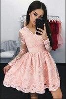 2019 вечернее платье розовые кружевные аппликации короткая длина до колена платье для выпускного вечера Длинные рукава глубоким v образным в