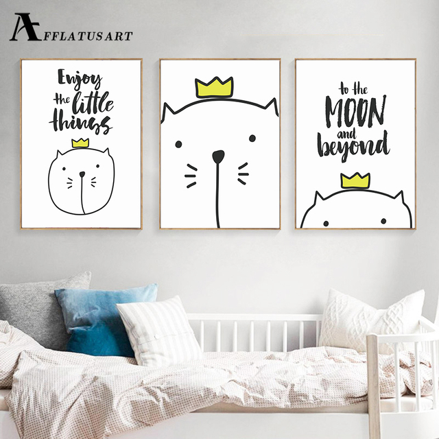 AFFLATUS Cute Cat Wall Art Canvas Painting Life Quotes Nordic Posters And  Prints Nursery Wall Pictures