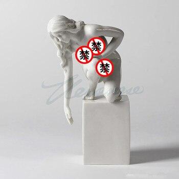 Moderne Femme Nue Sculpture Abstraite Fiery Fille Figurine Corps Art Statue Lumière Glaçure En Céramique Artisanat Décoration De La Maison R1797