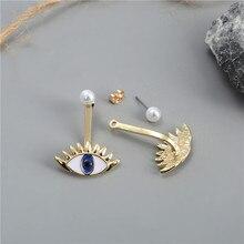 цена NADEEM Brand Cute Enamel Eyes Stud Earrings New Design Gold Color Summer Pearl Bead Eye Earring for Women Girl Part Gift Jewelry онлайн в 2017 году