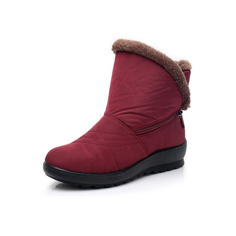 6523e49844e Negro Nieve De Mujer Corta marrón rojo Cuña Tobillo Rojo Zapatos Negro Venta  Caliente 2019 Del ...