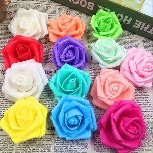 10pcs 4cm Handmade Foam Rose Artificial Flowers For Wedding Car Decoration Mariage Flores Rosa Scrapbooking Pompom Craft Flowers