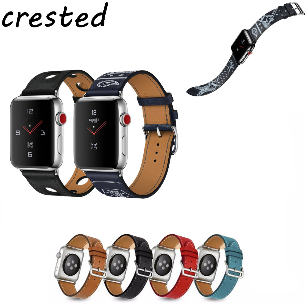 купить CRESTED leather strap for apple watch 42 mm/38 single tour bracelet  Genuine Leather watchband for iwatch 1/2/3 replacement belt по цене 454.99 рублей