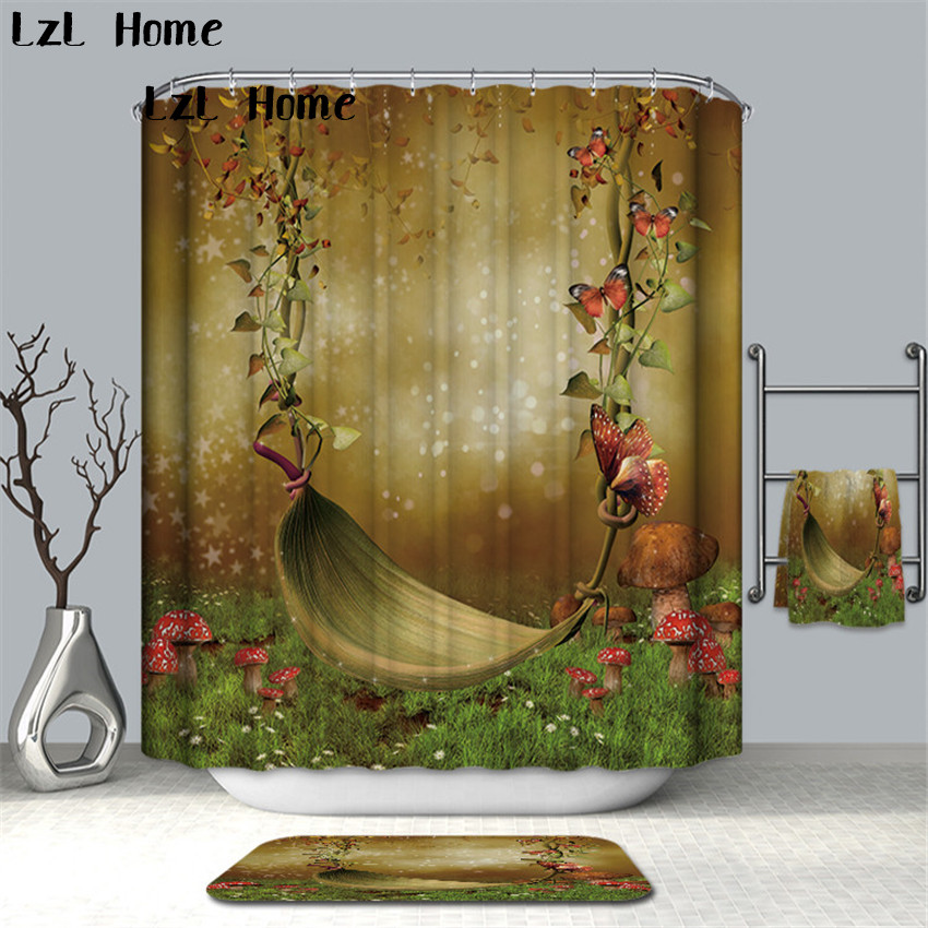 LzL Home All Kinds Of Flower Bathroom Curtain Waterproof Polyester Shower Curtain Bath Curtain Waterproof Mouldproof Home Decor in Shower Curtains from Home Garden