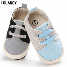 0 - 1 Years Old Baby Shoes Soft Bottom Shoes Canvas Lace Up First Walkers Shoes Toddler Sport Sneakers for Boys BS067(China)