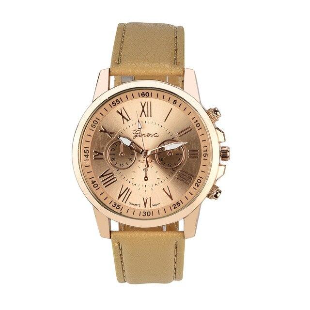 HOT Women's Geneva Roman Numerals Faux Leather Analog Quartz Watch 242510
