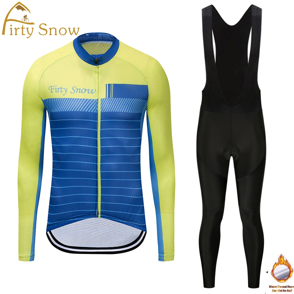 Firty Snow 2018 cycling jersey team and cycling pant winter thermal fleece cycling clothing long sleeve road bike jersey sets