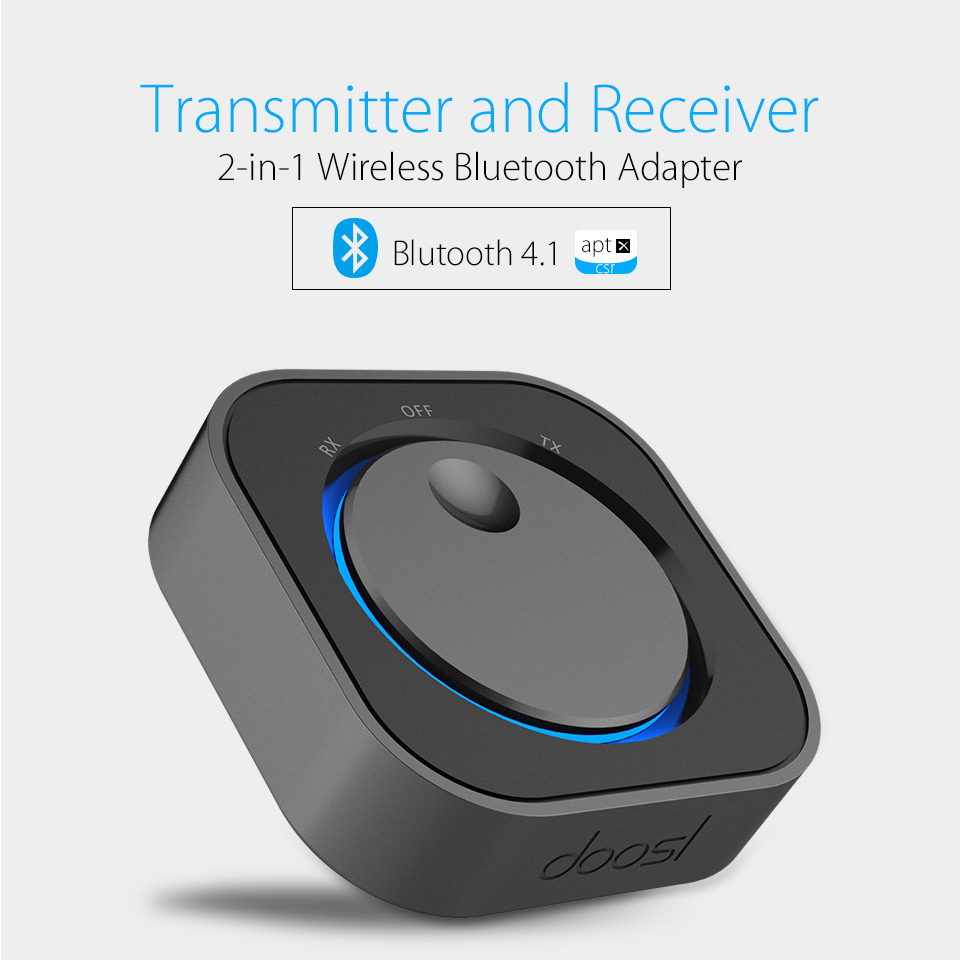 Doosl Wireless Audio Bluetooth Receiver and Transmitter Bluetooth Adapter with 3.5MM Audio Input and Output for TV MP3 PC