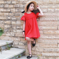 Girls Dress Brand Summer Beach Style Red Solid Color Party Dresses For Girls Princesa Ruffles Cotton Lolita Clothing N 70C1188