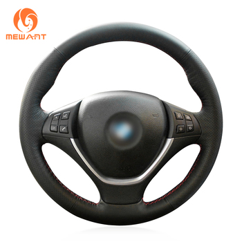 MEWANT Comfortable Black Genuine Leather Suede Hand Sew Wrap Car Steering Wheel Cover for BMW X5 E70 2006-2013 X6 E71 2008-2014