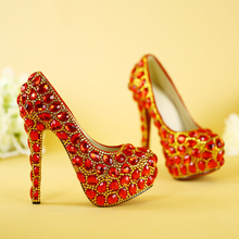 Women Wedding Dress Bridal Shoes Big Red Crystal High Heels Rhinestone Golden Striate Collaterals Glittering Party Shoes