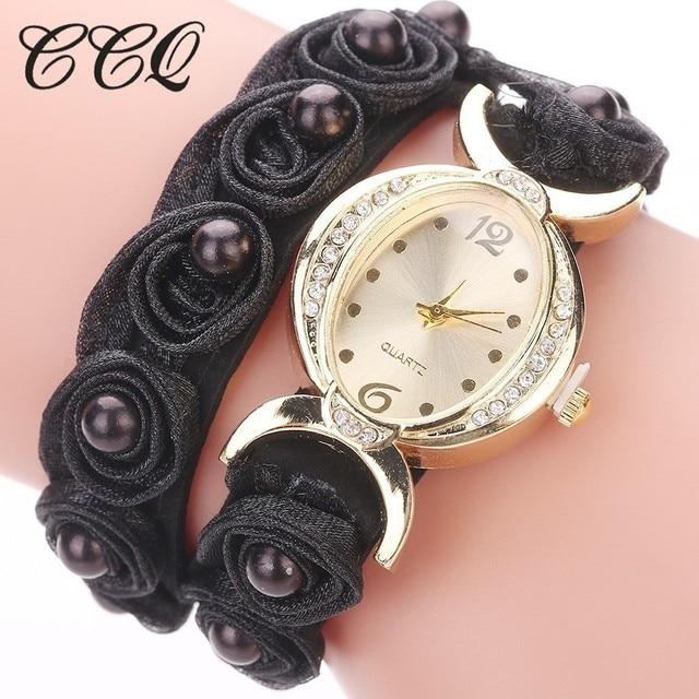 CCQ Brand Women Rose Flower Wristwatches Casual Handmade Braided Ladies Quartz W