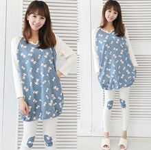 Cute cartoon dogs spring style white blue patterns casual size maternity clothes Pajama Set for pregnant sleepwear free shipping