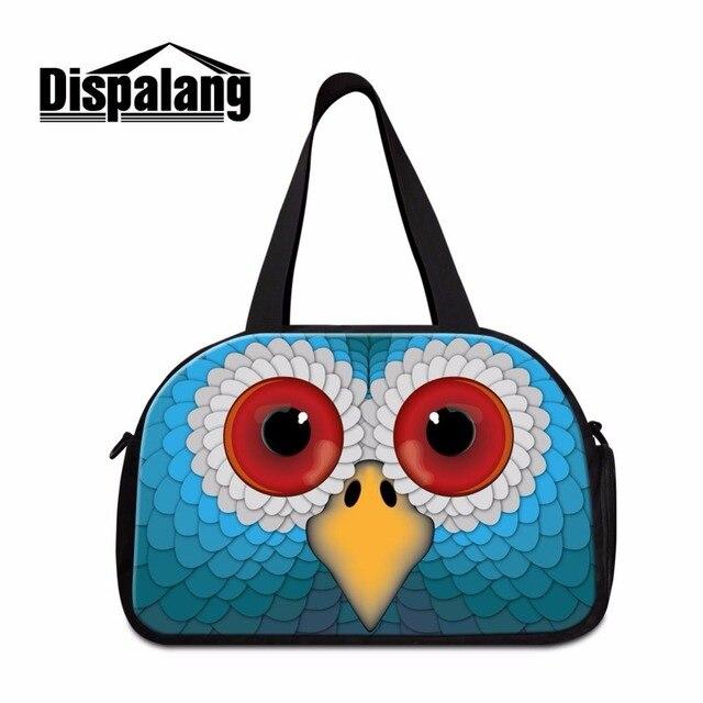 Dispalang grande mochila de viagem capacidade sacolas sacos de duffle para homens treino legal da coruja 3d impressão bolsa de viagem + independente bit sapato