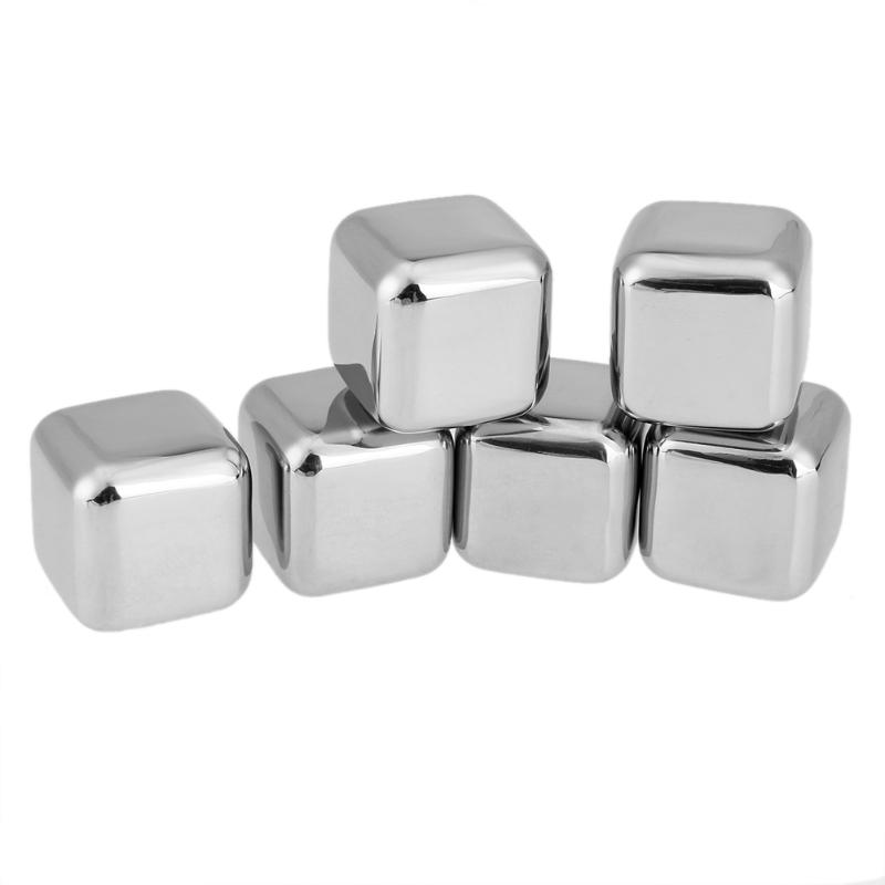 6pcs/set Stainless Steel Whisky Ice Cubes Home Party Bar Wiskey Wine Beer Cooler Ice Chiller Drink Cooling Stone with Clip Bag