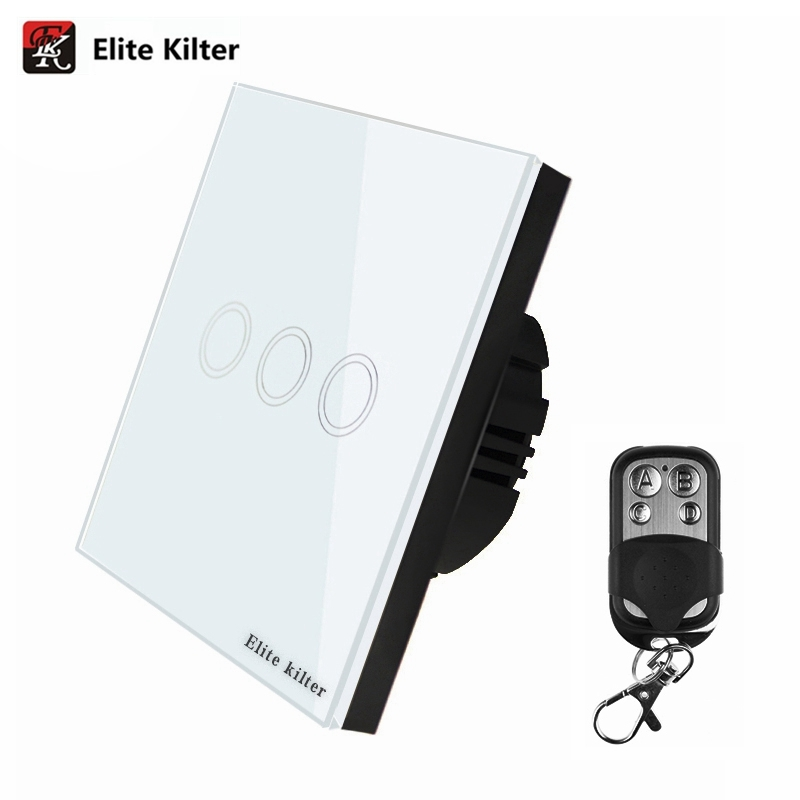 Elite Kilter EU/UK Standard Remote Control Switch 3 Gang 1 Way Smart Wall Touch Switch + LED Indicator Crystal Glass Panel uk standard remote touch switch black crystal glass panel 2 gang 1 way remote control wall switch with led indicator