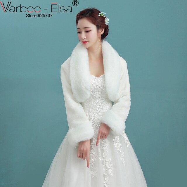 VARBOO_ELSA 2018 Winter Wedding Coat Bridal Jacket Ivory Faux Fur ...