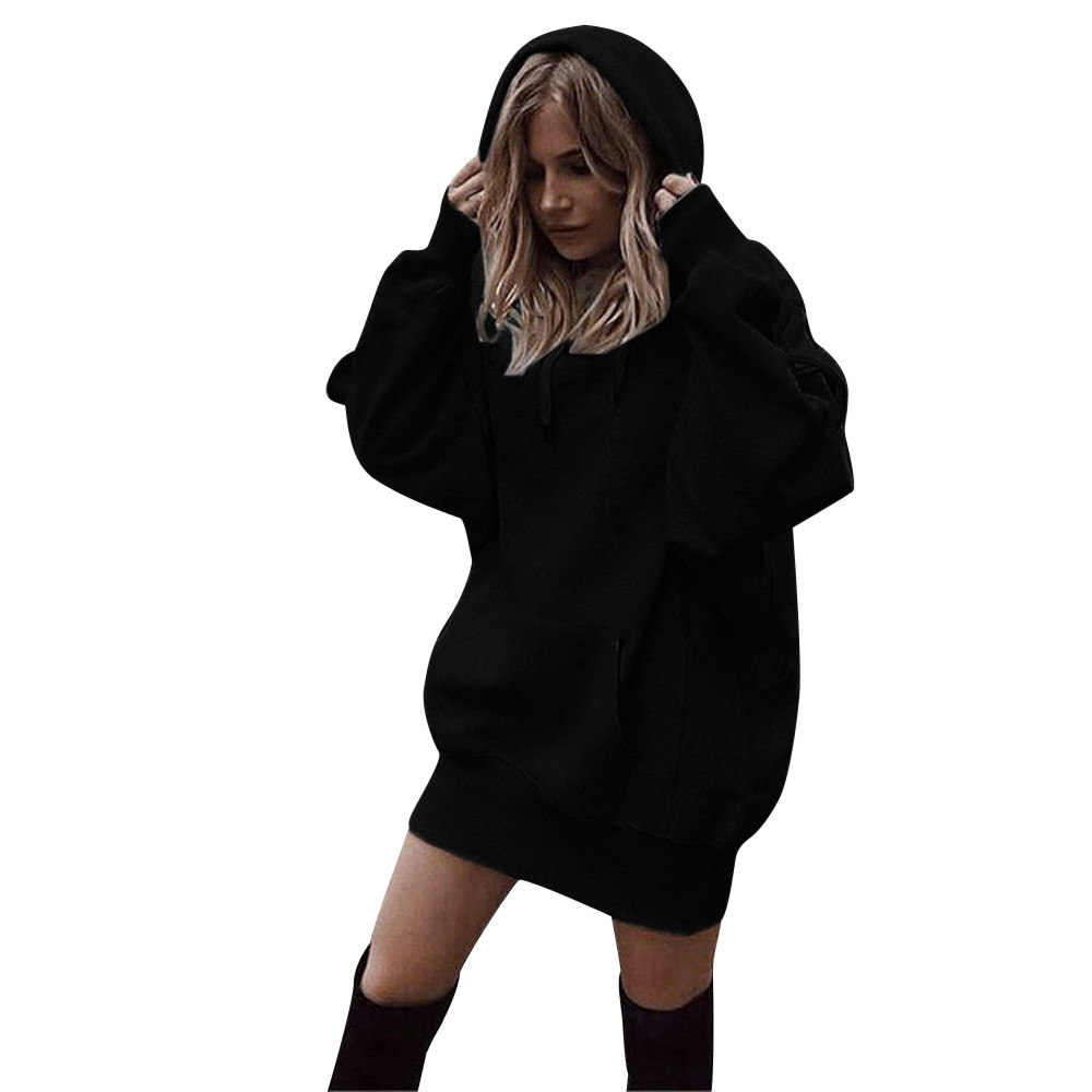Women Hoodies Sweatshirts Winter Womens Long Sleeve Solid Color Pullover Coat Hoody Sweatshirt