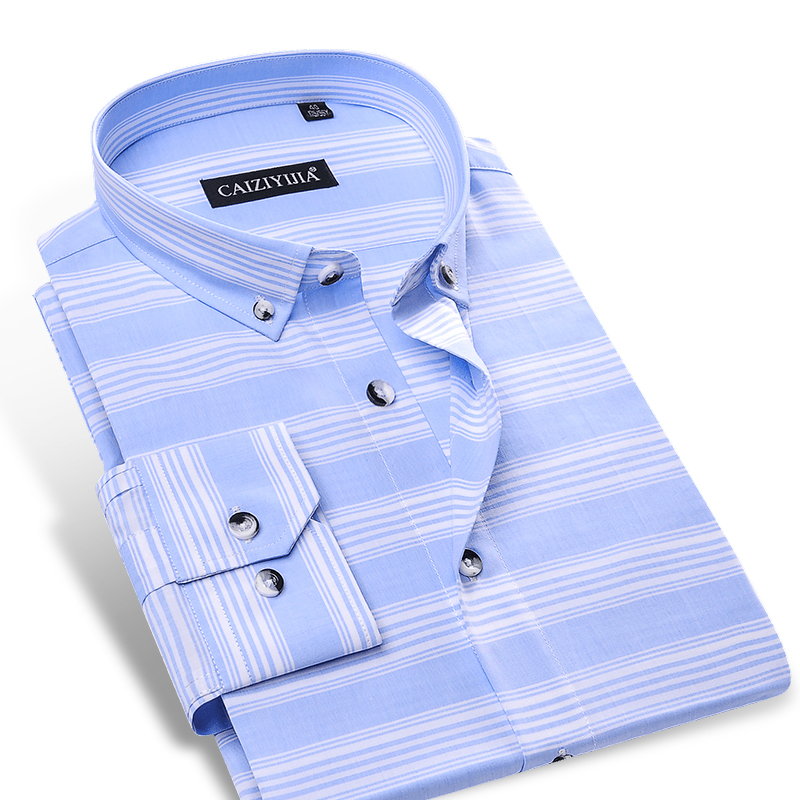 Men 39 s sky blue white horizontal stripes shirt no pocket for Dress shirt no pocket