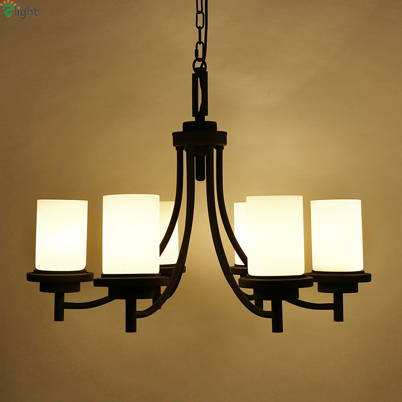 American Retro Painted Iron Led Pendant Chandeliers Lustre Glass Dining Room Led Chandelier Lighting Bedroom Led Hanging Lights