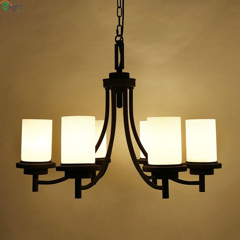 Φ_ΦAmerican retro hierro pintado LED colgante Candelabros lustre ...