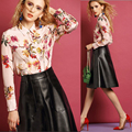 Europe 2017 Spring Vintage Long Sleeve Shirt Women Printing Sim Ladies Blouses Big Size Hot Sale