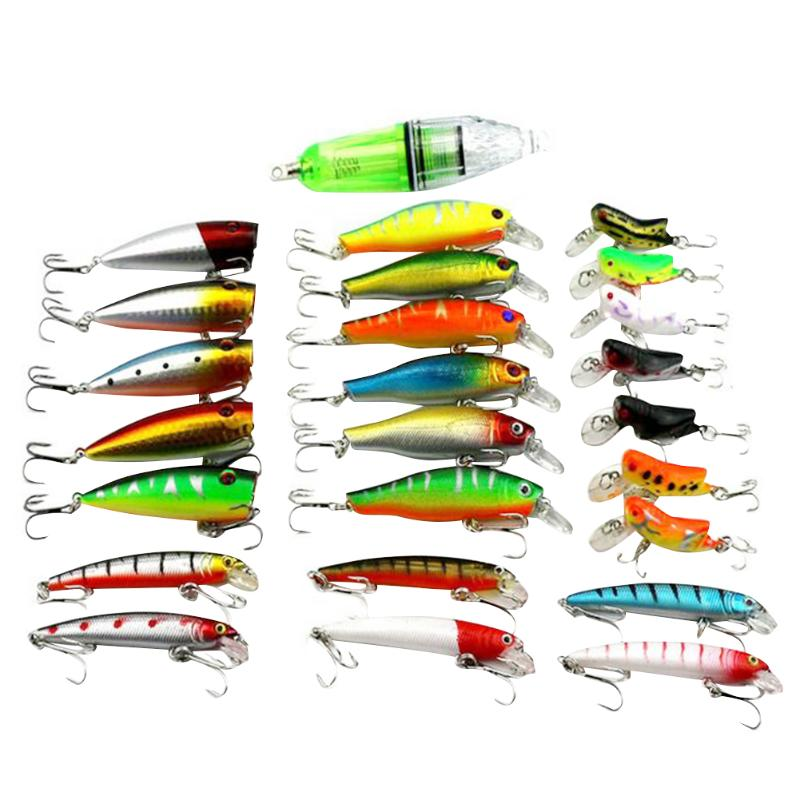 25Pcs/lot Mixed Artificial Hard Fishing Lures Minnow Fish Shrimps Baits Set Fishing Attraction Lures Fishing Accessories peche 30pcs set fishing lure kit hard spoon metal frog minnow jig head fishing artificial baits tackle accessories