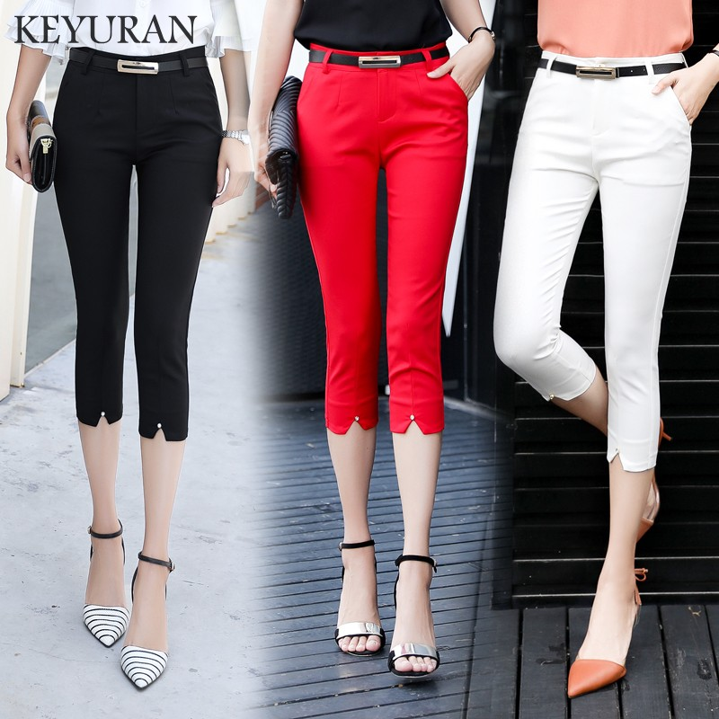 2018 OL Summer Fashion Beading Women Cotton Casual formal   pants   Female Skinny Slim Pencil   Pants   Elastic   Capris   Plus Size S-XXL