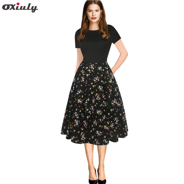 67476ace2a3 Oxiuly Women s Elegant Vintage Patchwork Floral Print Tunic Pinup Pockets  Body-con Office Fit and Flare A-line Skater Dress