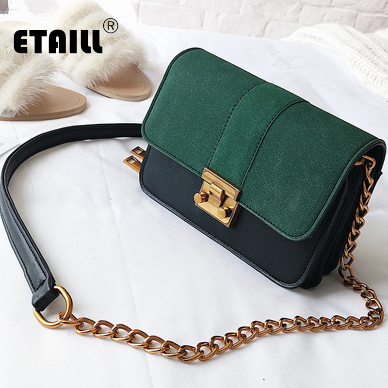 ETAILL Fashion Nubuck Pu Leather Small Bag Flap Women Crossbody Bag Golden Chain Messenger Shoulder Bag Lady Party Handbags yeesupsei daily bag women leather handbag golden chain small women messenger bag candy color women shoulder bag party lock purse