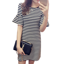 Women dress Modal Flare sleeve stripe summer dress 2019 robe femme Horizontal stripe Oneck vogue dress New arrive fashion brand купить недорого в Москве