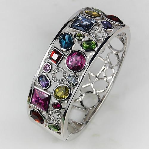 Pink Kunzite Garnet Peridot Blue Simulated Topaz Simulated Sapphire Lady's 925 Silver Bracelet B483