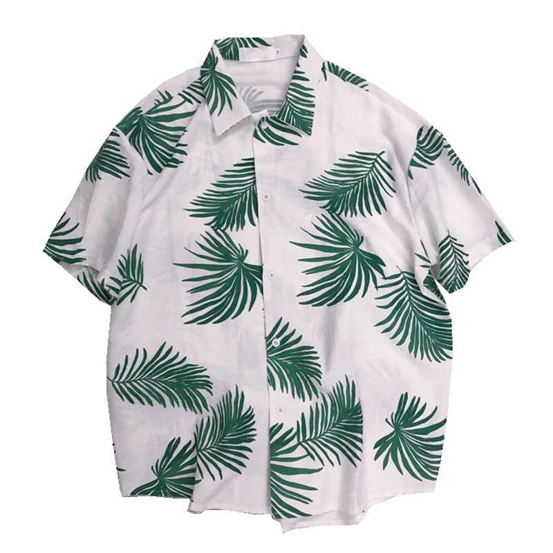 e079e7a2bd Morrowwind Women Short Sleeve Palm leaf Print Blouse Shirt Floral Blusas  Feminino Casual Summer Loose Hawaiian