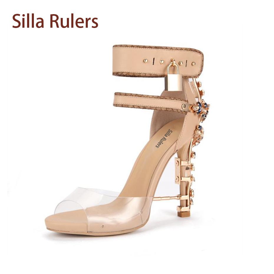 Silla rulers 2018 Summer New Sexy Rhinestone High Heel Gladiator Sandals Woman Pvc Open Toe Diamond Ankle Lock Party Shoes 2017 new arrival abnormal jeweled heels rhinestone crystal embellished high heel sandals ankle strap lock summer party shoes