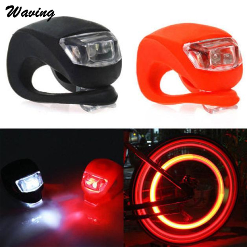 2X Head Front Rear Light Silicone 2017 New Bike Bicycle Cycling Head Front Rear Wheel LED