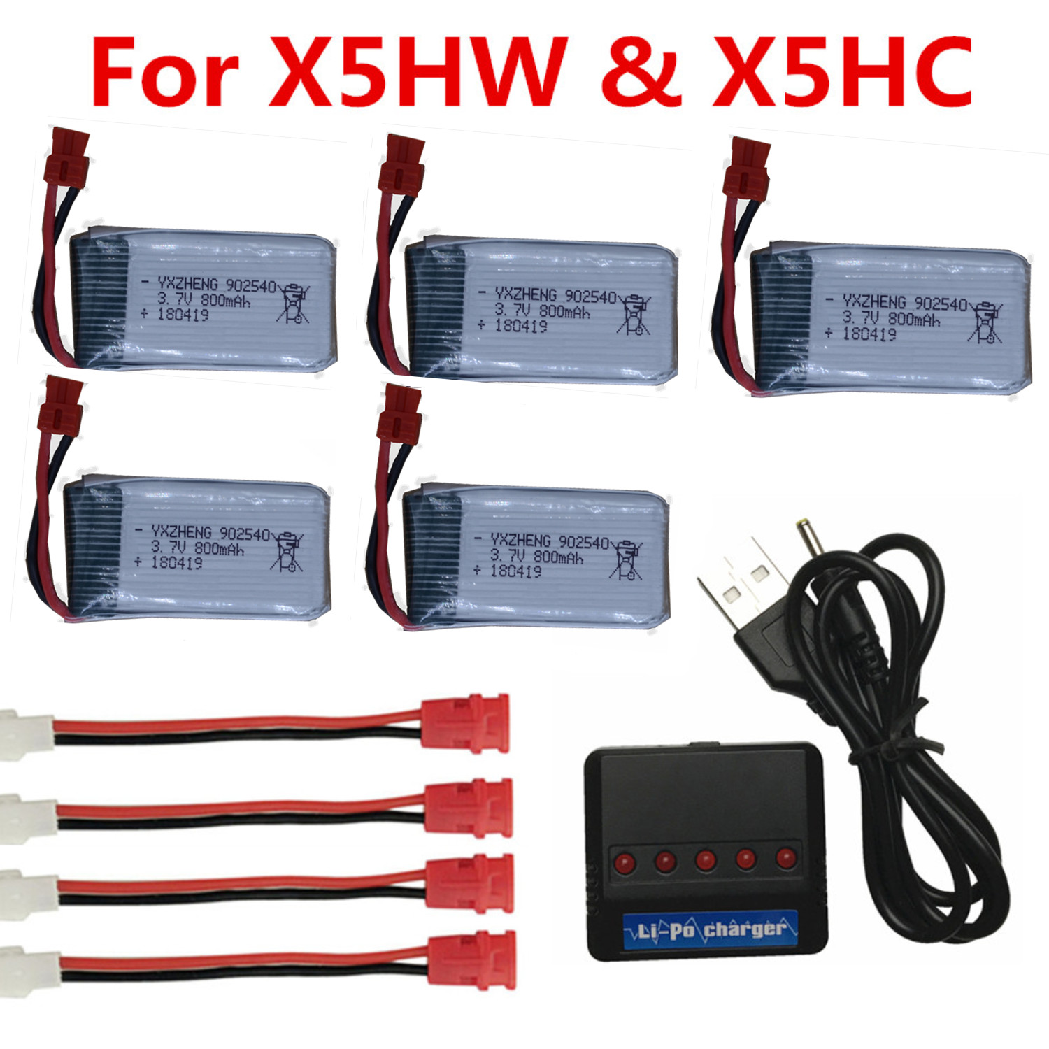 5pcs 902540 800mAh 3.7V 25c LIPO Battery with USB Charger sets for SYMA X5C X5 X5HW X5HC RC Drone Qaudcopter battery
