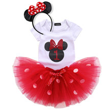 New Baby Girl Dresses Red Summer Party Birthday Dress Little Princess Children Costume with Headband Fancy Clothing for 1 2Yrs
