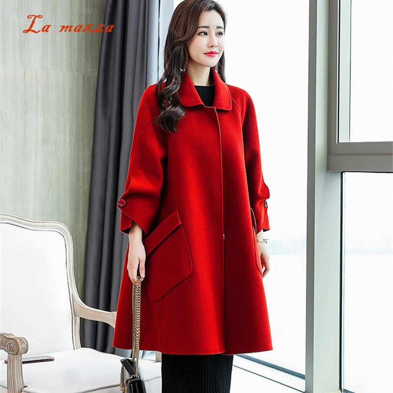 b02c19c7827 Women Cape Coats Winter 2018 Korean Style Warm Fashion Elegant Ladies Wool  Long Coat Plus Size