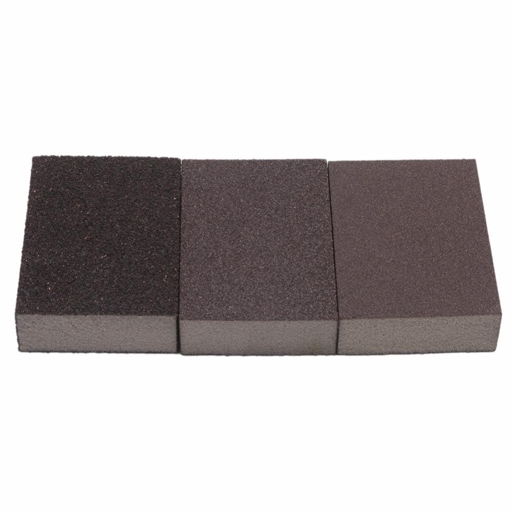 цена на 3pcs Polishing Sanding Sponge Block Pad Set Sandpaper Assorted Grit 100 180 320