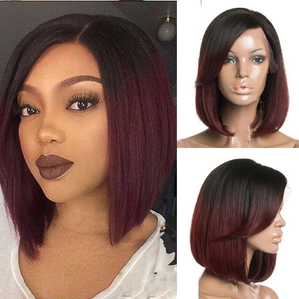 Ombre Black To Dark Wine 99J Straight Short Bob Human Hair