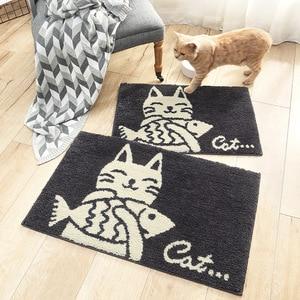Image 4 - Paillasson dentrée dintérieur, tapis en poisson absorbant, motif de chat mignon, tapis pour pieds, porte Machine, cuisine, salle de bains