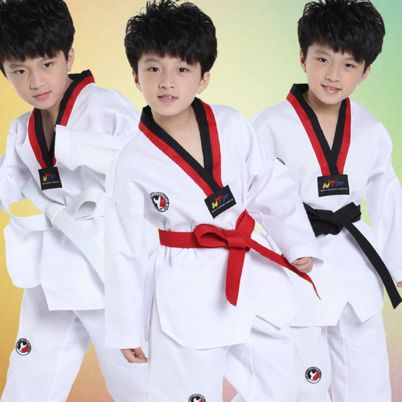 2018 белая одежда с длинным рукавом Дети кимоно для дзюдо детской одежды каратэ конкуренции Производительность костюмы мальчики девочки Тхэ...