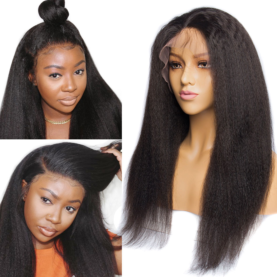 ALIBELE Yaki Kinky Straight Wigs Peruvian Remy Human Hair 13x4 Pre Plucked Lace Front Human Hair