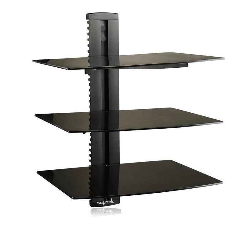 3 Полка с усиленной закаленное Стекло для DVD-плеер/кабель Коробки/игровыми консолями/ТВ аксессуары 3 полки, черный CS203