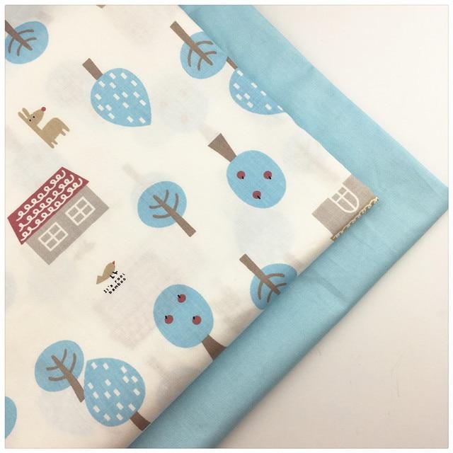 US $2.56 20% OFF|Diy baumwolle blauer baum gedruckt twill stoff für DIY  nähen kind puppe krippe bettwäsche kissen kleid handarbeit patchwork tissue  ...