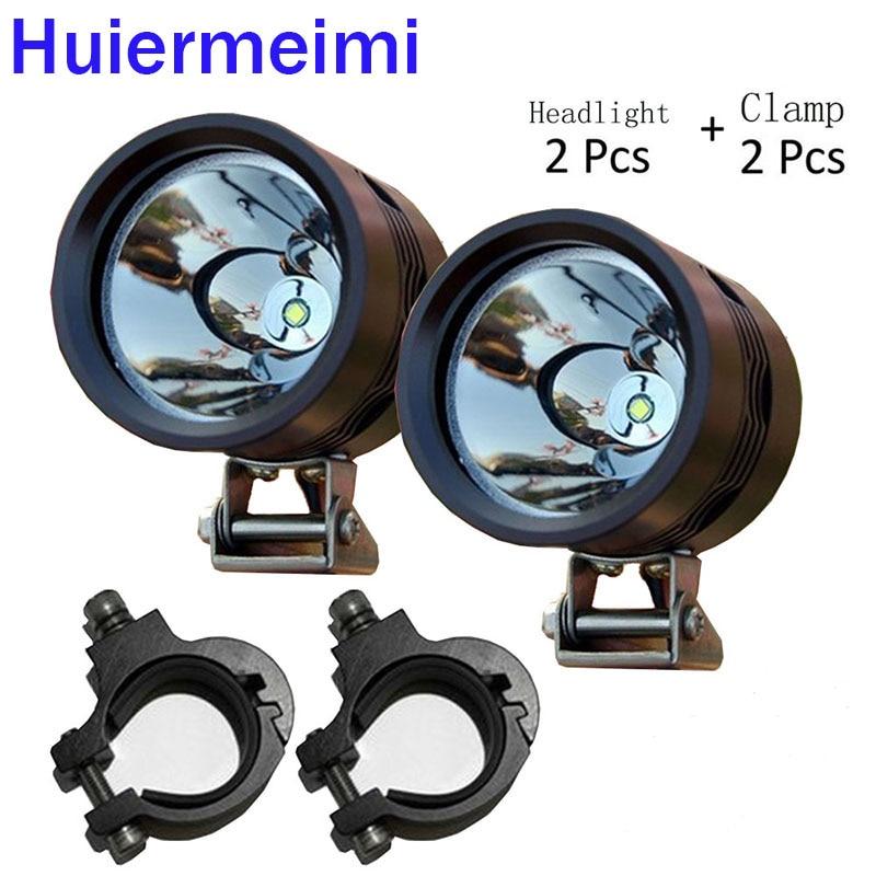 Huiermeimi 1pair 12V Motorcycle Headlight U2 led Driving lamp SUV Spotlight head angel eye light DRL Motorbike Decorative Lamp